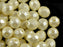 25 pcs Fire Polished Faceted Beads Round, 8mm, Pastel Light Cream, Czech Glass