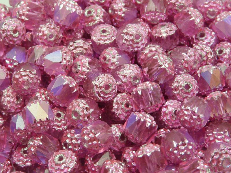 25 pcs Cathedral Fire Polished Faceted Beads, 8mm, Crystal Pink AB Coloured, Czech Glass