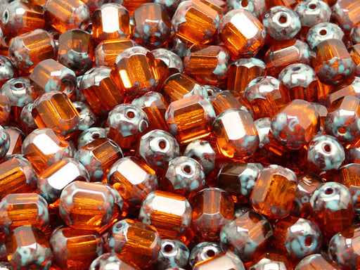 25 pcs Cathedral Fire Polished Faceted Beads, 8mm, Hyacinth Travertin Ends, Czech Glass