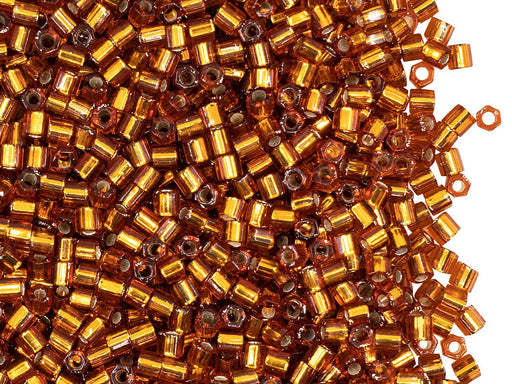 Hexagon Gut Seed Beads 8/0, Brown Silver Lined, Miyuki Japanese Beads
