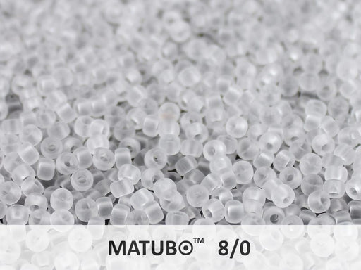 10 g 8/0 Seed Beads MATUBO, Crystal Mat, Czech Glass