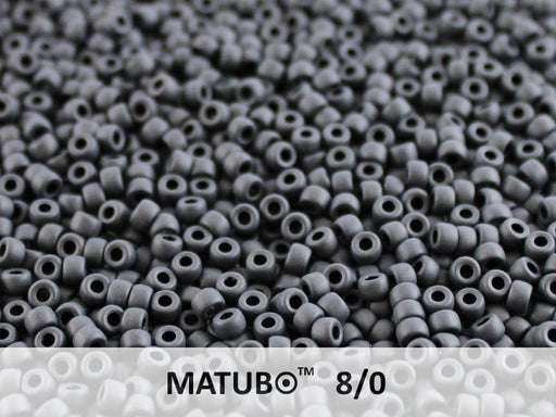 10 g 8/0 Seed Beads MATUBO, Jet Mat, Czech Glass