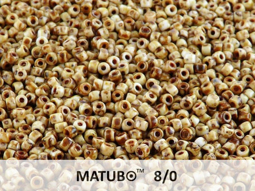 10 g 8/0 Seed Beads MATUBO, Chalk Travertine Dark, Czech Glass