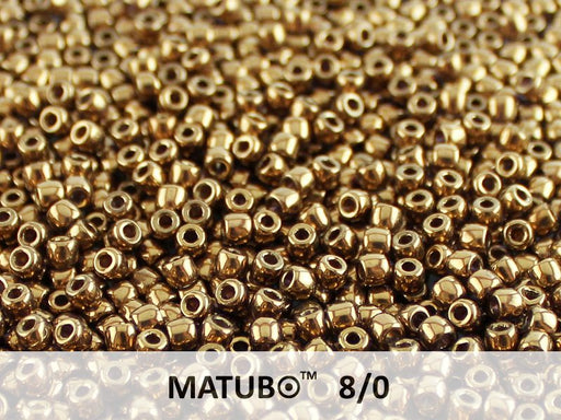 10 g 8/0 Seed Beads MATUBO, Crystal Gold Bronze, Czech Glass