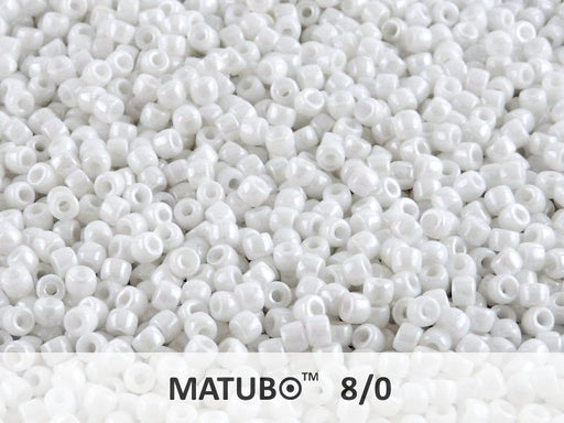 10 g 8/0 Seed Beads MATUBO, Chalk White Luster, Czech Glass