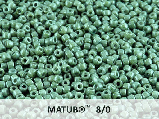 10 g 8/0 Seed Beads MATUBO, Chalk Green Luster, Czech Glass