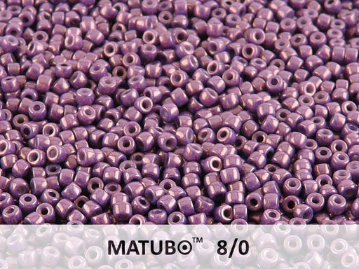 10 g 8/0 Seed Beads MATUBO, Chalk Vega Luster, Czech Glass