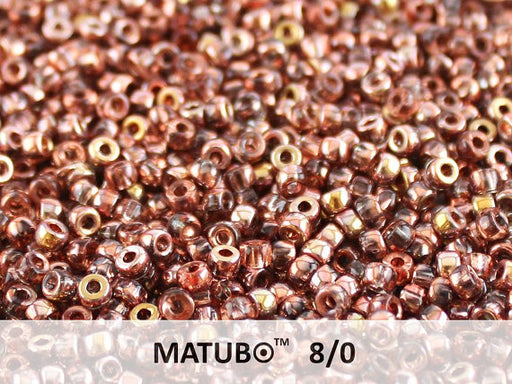 10 g 8/0 Seed Beads MATUBO, Rosaline Capri Gold, Czech Glass
