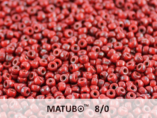 10 g 8/0 Seed Beads MATUBO, Opaque Red Coral Picasso, Czech Glass