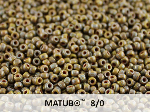 10 g 8/0 Seed Beads MATUBO, Opaque Green Travertine Dark, Czech Glass