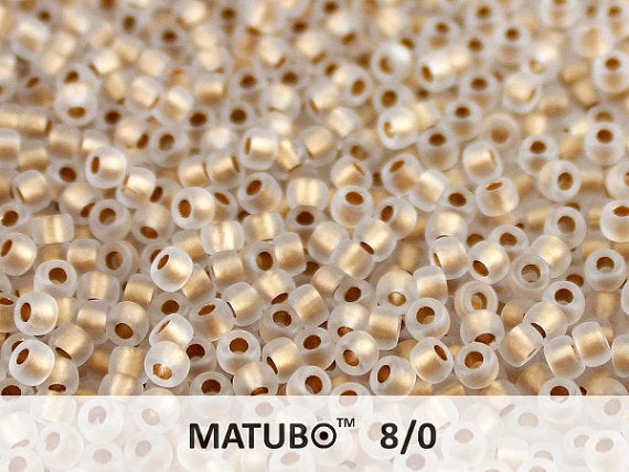 10 g 8/0 Seed Beads MATUBO, Crystal Ice Bronze Lined, Czech Glass