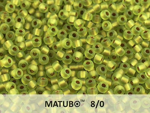 10 g 8/0 Seed Beads MATUBO, Olivine Ice Bronze Lined, Czech Glass