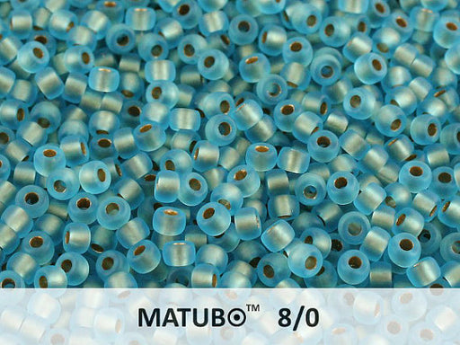 10 g 8/0 Seed Beads MATUBO, Aquamarine Ice Bronze Lined, Czech Glass