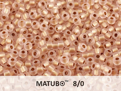 10 g 8/0 Seed Beads MATUBO, Rosaline Ice Bronze Lined, Czech Glass