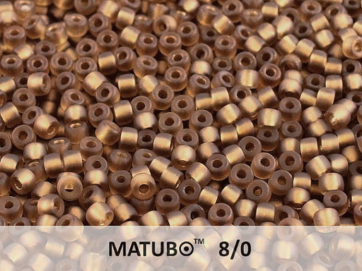 10 g 8/0 Seed Beads MATUBO, Dark Topaz Ice Bronze Lined, Czech Glass
