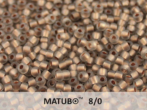 10 g 8/0 Seed Beads MATUBO, Smoke Gray Ice Bronze Lined, Czech Glass