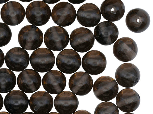 Natural Stones Round Beads 8 mm, Obsidian Semi-Transparent Black, Minerals, Russia