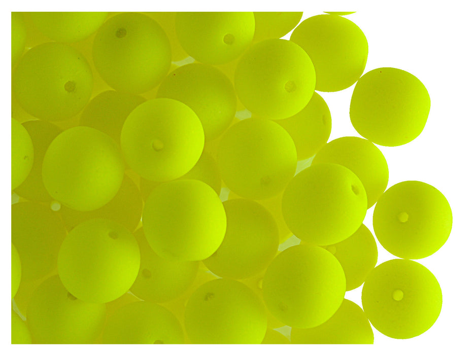 30 pcs Round NEON ESTRELA Beads, 8mm, Yellow, Czech Glass