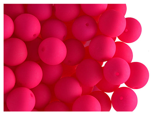 30 pcs Round NEON ESTRELA Beads, 8mm, Pink, Czech Glass