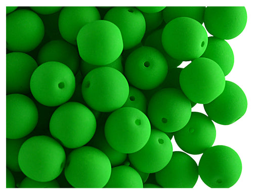 30 pcs Round NEON ESTRELA Beads, 8mm, Green, Czech Glass