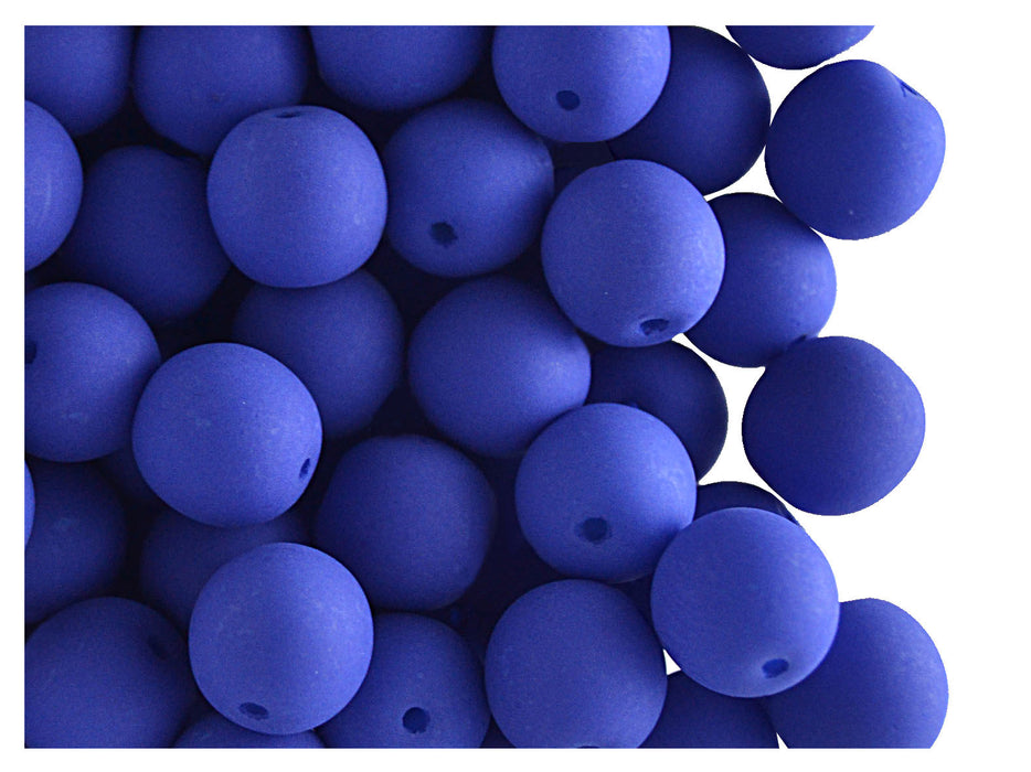 30 pcs Round NEON ESTRELA Beads, 8mm, Dark Blue, Czech Glass