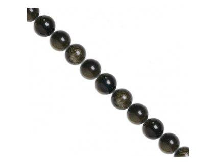 Semi-precious Stones 8 mm, Gold Sheen Obsidian,