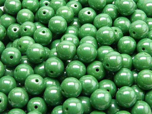 25 pcs Round Pressed Beads, 8mm, Opaque Green White Luster, Czech Glass