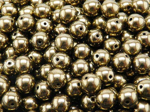 25 pcs Round Pressed Beads, 8mm, Jet Gold Luster, Czech Glass