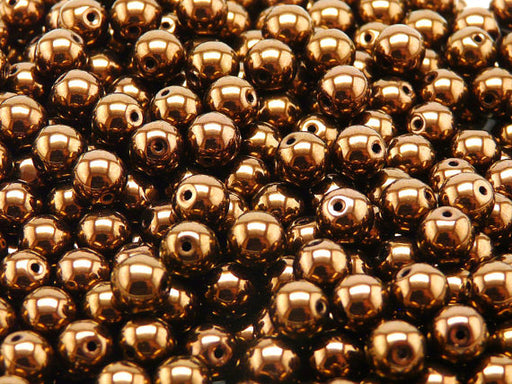 25 pcs Round Pressed Beads, 8mm, Jet Bronze Luster, Czech Glass