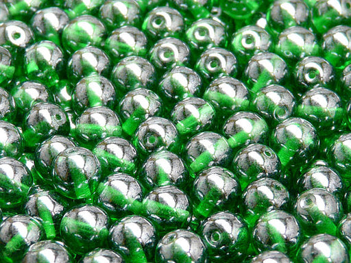 25 pcs Round Pressed Beads, 8mm, Green Transparent White Luster, Czech Glass