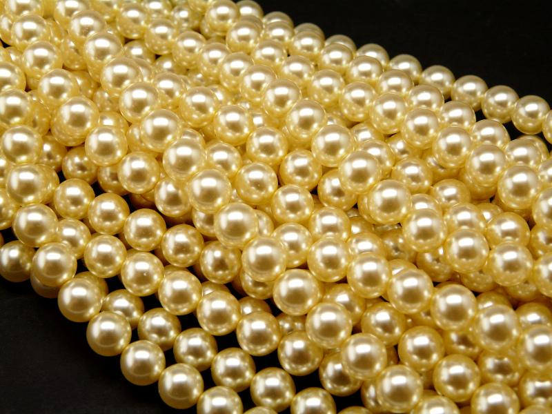 30 pcs Round Pearl Beads, 8mm, Beige Pearl, Czech Glass
