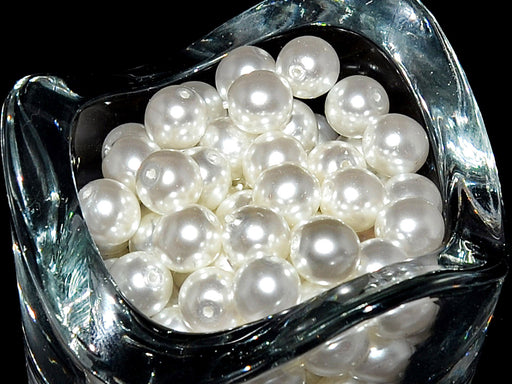30 pcs Round Pearl Beads 8mm, Czech Glass, White Pearl