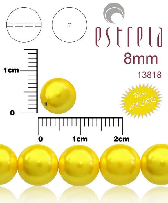 30 pcs Round Pearl Beads, 8mm, Pastel Yellow, Czech Glass