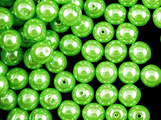 30 pcs Round Pearl Beads, 8mm, Pastel Green Pea , Czech Glass