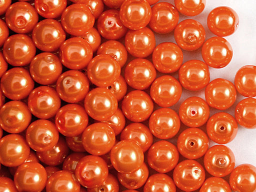 30 pcs Round Pearl Beads, 8mm, Pastel Orange, Czech Glass