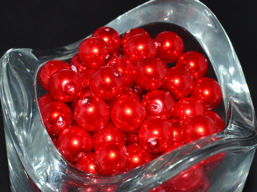 30 pcs Round Pearl Beads, 8mm, Red, Czech Glass
