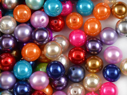 30 pcs Round Pearl Beads, 8mm, Mix Pearl Colors, Czech Glass