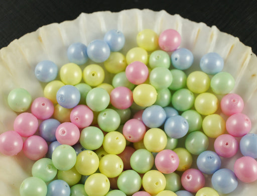 30 pcs Round Pearl Beads, 8mm, Baby Mix Pastel, Czech Glass