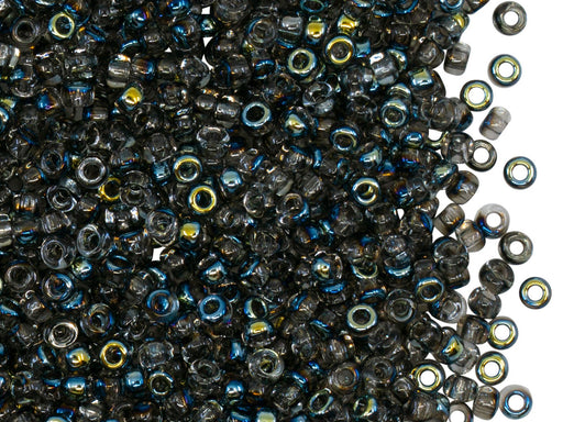Rocailles Seed Beads 8/0, Crystal AB Black, Czech Glass