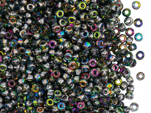 Rocailles Seed Beads 8/0, Crystal Vitrail, Czech Glass
