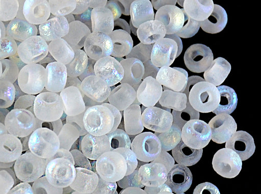 10 g 8/0 Etched Seed Beads, Crystal Etched AB Full, Czech Glass