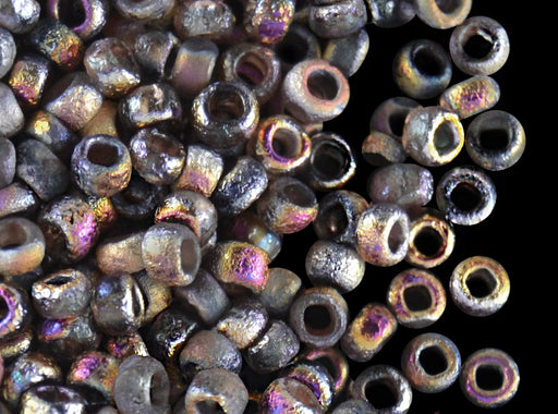 10 g 8/0 Etched Seed Beads, Crystal Etched Sliperit Full, Czech Glass