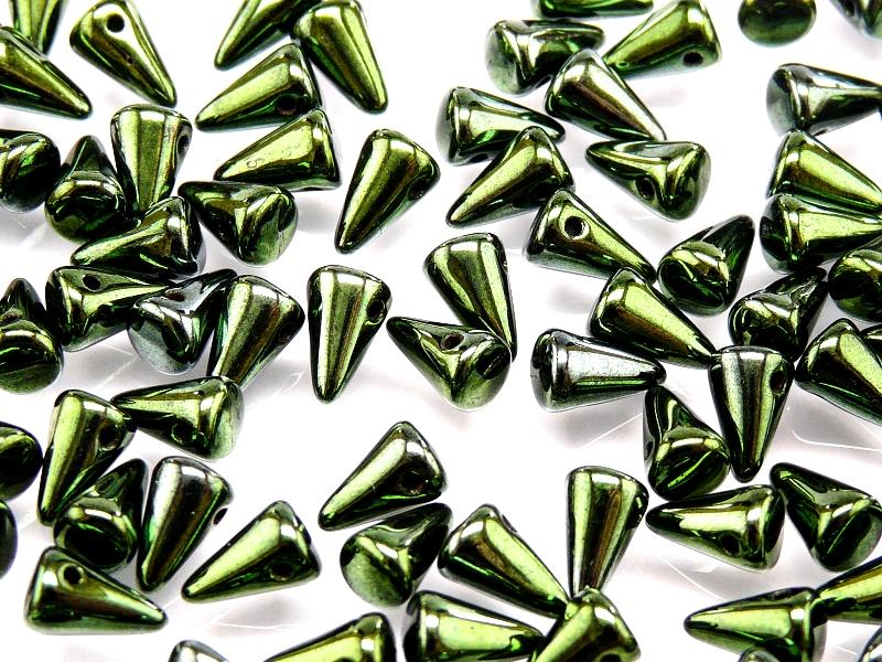 20 pcs Spike Small Pressed Beads, 5x8mm, Jet Green Luster, Czech Glass