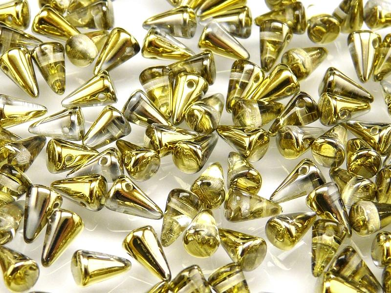 20 pcs Spike Small Pressed Beads, 5x8mm, Crystal Half Opaque Amber, Czech Glass