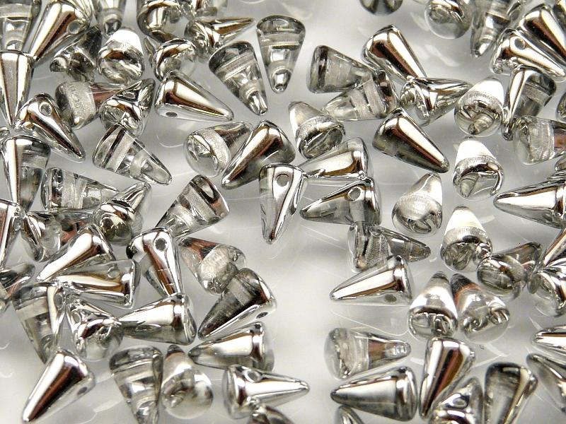20 pcs Spike Small Pressed Beads, 5x8mm, Crystal Half Silver, Czech Glass