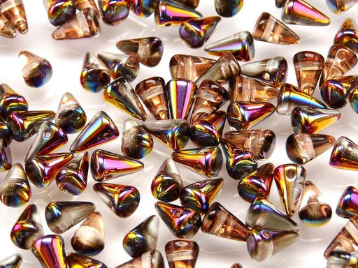 20 pcs Spike Small Pressed Beads, 5x8mm, Crystal Half Sliperit AB, Czech Glass