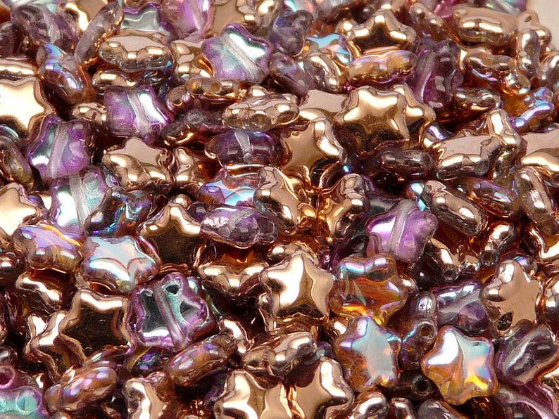 25 pcs Star Beads, 8 mm, Czech Glass, Crystal Copper Rainbow