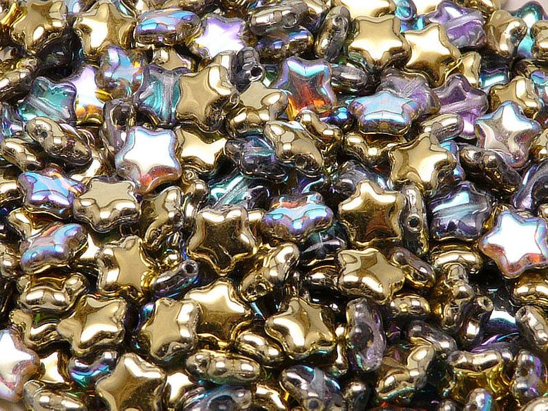 25 pcs Star Beads, 8 mm, Czech Glass, Crystal Golden Rainbow