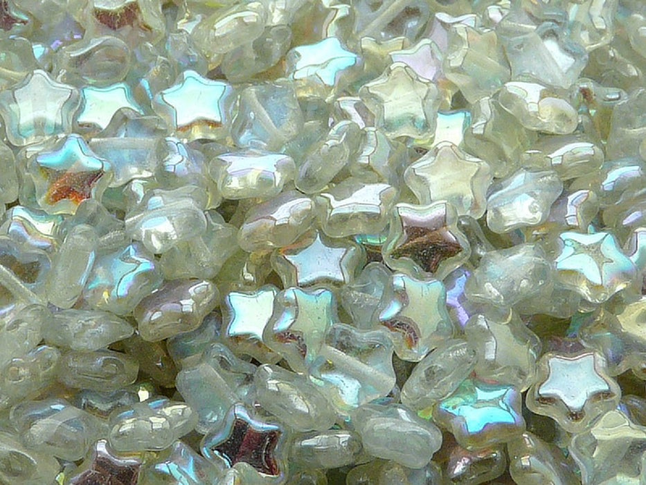 50 pcs 50 pcs Star Beads 8 mm Crystal Green Rainbow Czech Glass Green Multicolored