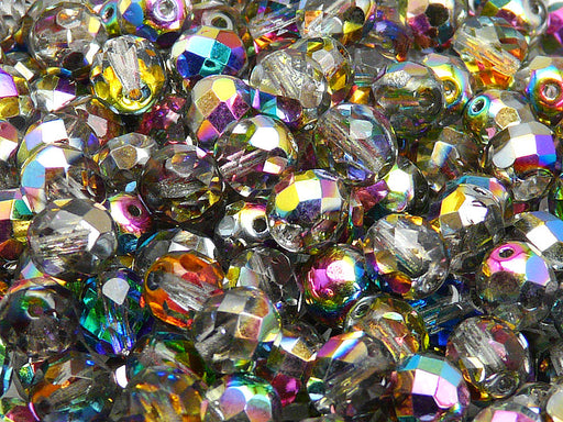 Set of Round Fire Polished Beads ( 4mm, 6mm, 8mm), 3 colors: Crystal Vitrail, Chalk White, Jet Black, Czech Glass